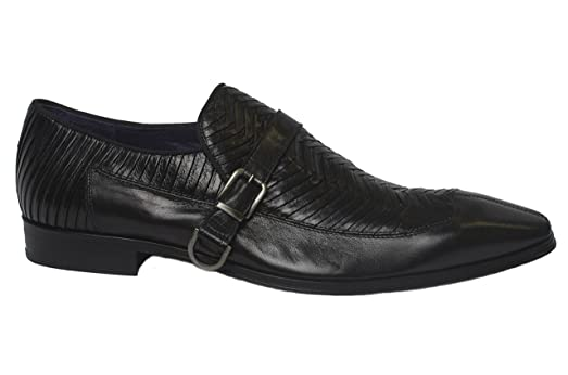 A6452 Italian mens black pleated leather slip on shoes with buckle