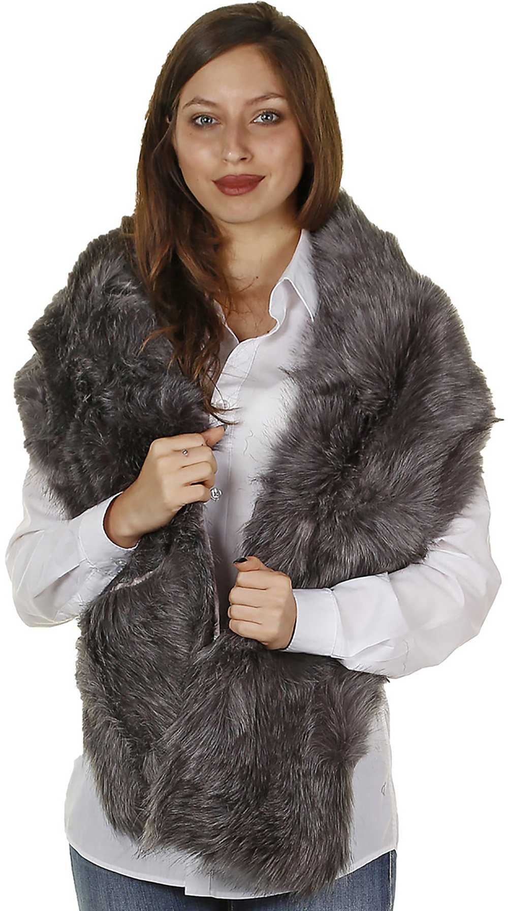 GILBIN'S Women's Stylish Warm Winter Faux Fur Scarf Neck Shawl,With Loophole Or With Two Pockets For Warming Hands(Grey)