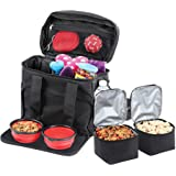 Bundaloo Dog Travel Bag Accessories Supplies Organizer 5-Piece Set with Shoulder Strap   2 Lined Pet Food Containers, 2 Colla