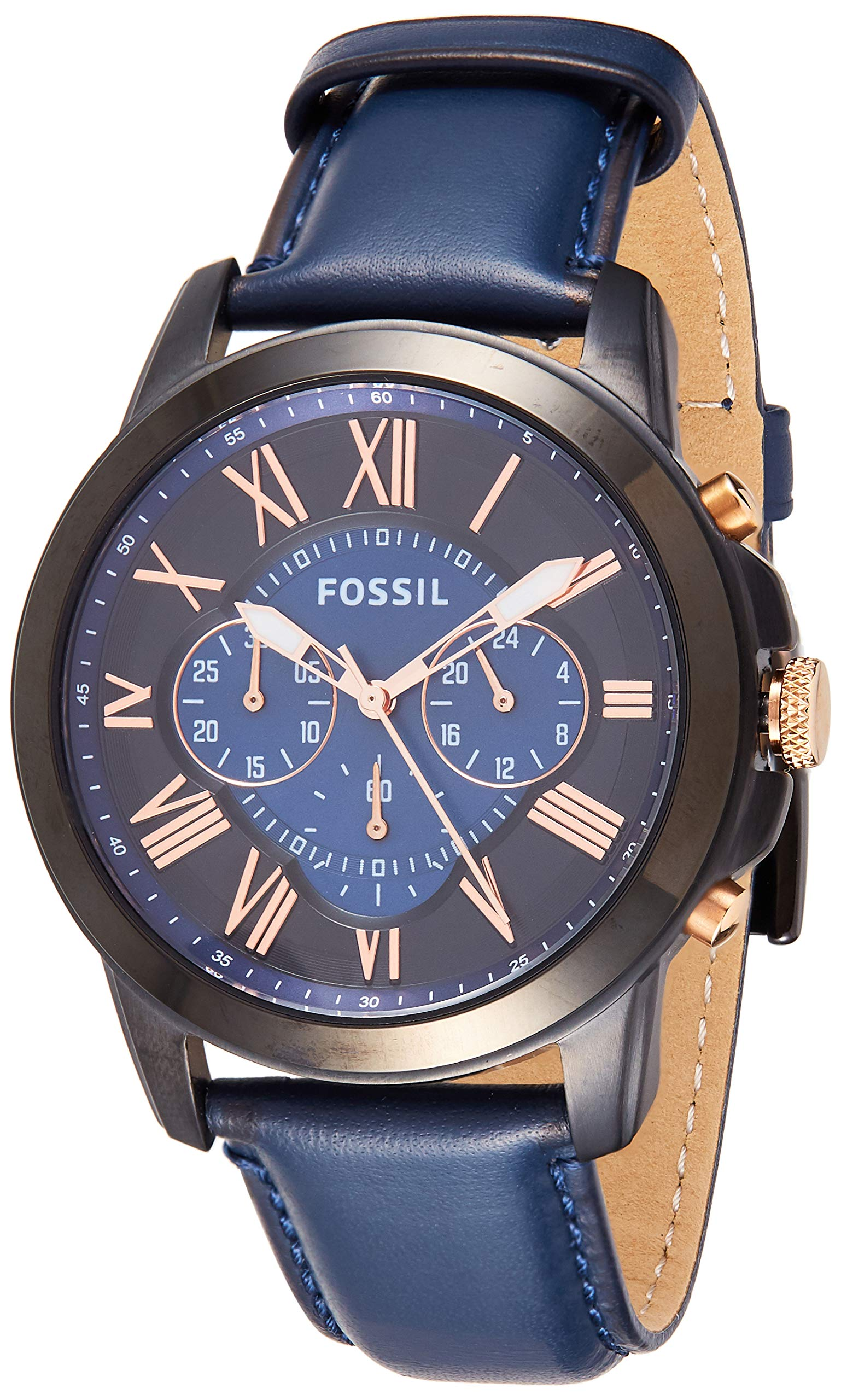 Fossil Men's Grant Quartz Stainless Steel and Leather Chronograph Watch, Color: Black, Navy (Model: FS5061IE) by Fossil