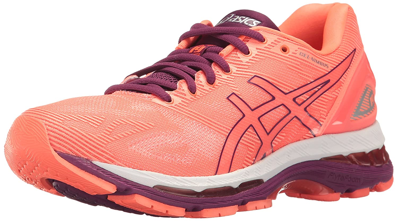 ASICS Women's Gel-Nimbus 19 Running Shoe B01GST3LAC 10 B(M) US|Flash Coral/Dark Purple/White