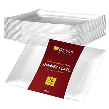 DECORAT CLEAR PLASTIC PLATES / DINNER PLATES   11.75 Inch Party Plates - 20 Pack    sc 1 st  Amazon.com & Amazon.com   DECORAT CLEAR PLASTIC PLATES / DINNER PLATES   11.75 ...