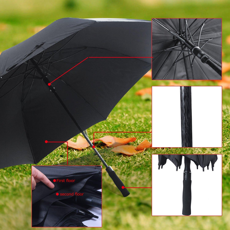 Paraguas de golf Kingstar resistente al viento, negro, ligero, 60 cm, doble dosel, mango de apertura automática de fibra de vidrio y 8 costillas de fibra de ...