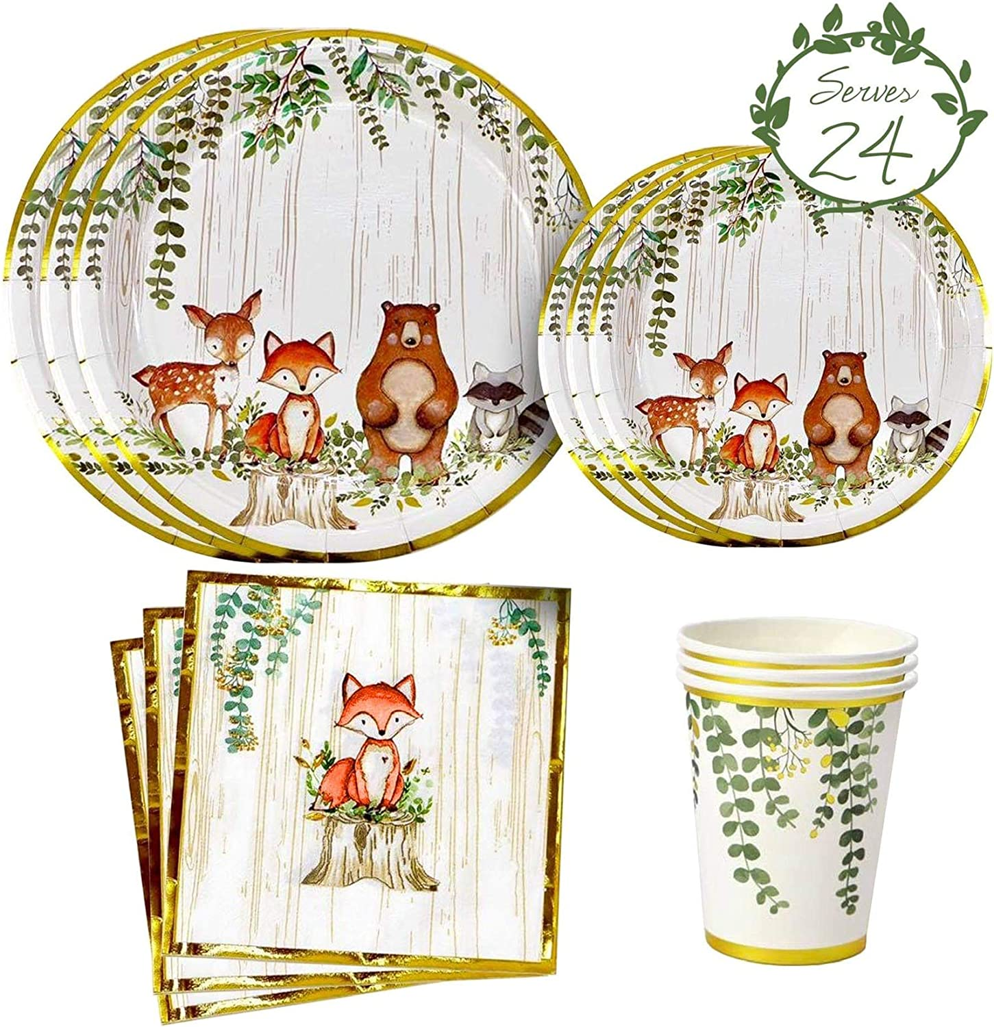 YARA Woodland Creatures Theme Baby Shower & Birthday Party Supplies For Boy or Girl Decorations with plates, napkins and cups of Forest Animal Friends Fox, Deer, Bear, Racoon Tableware Decor Set Serves 24