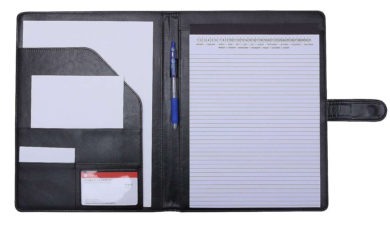 Cartella portadocumenti formato A4, in ecopelle, si ripiega su se stessa, organizer con portablocco Black Mymazn
