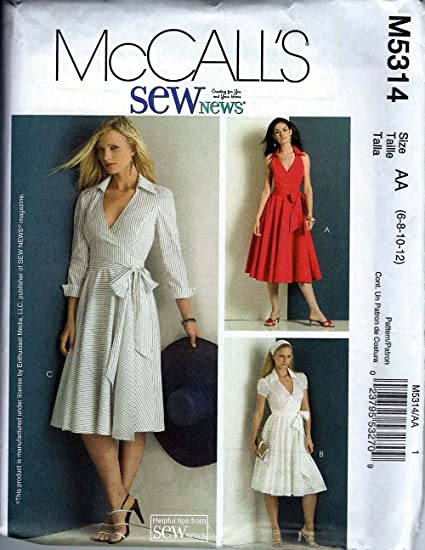 Mccalls Sewing Pattern M5314 Misses Wrap Dress Size AA (6-8-10-