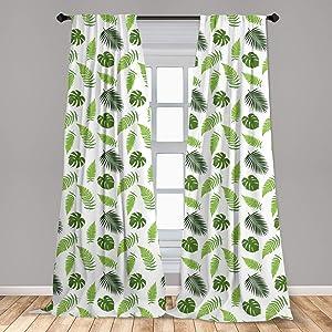Ambesonne Jungle Leaves Curtains, Botanical Ferns Organic Leafy Layout Tropical Season, Window Treatments 2 Panel Set for Living Room Bedroom Decor, 56