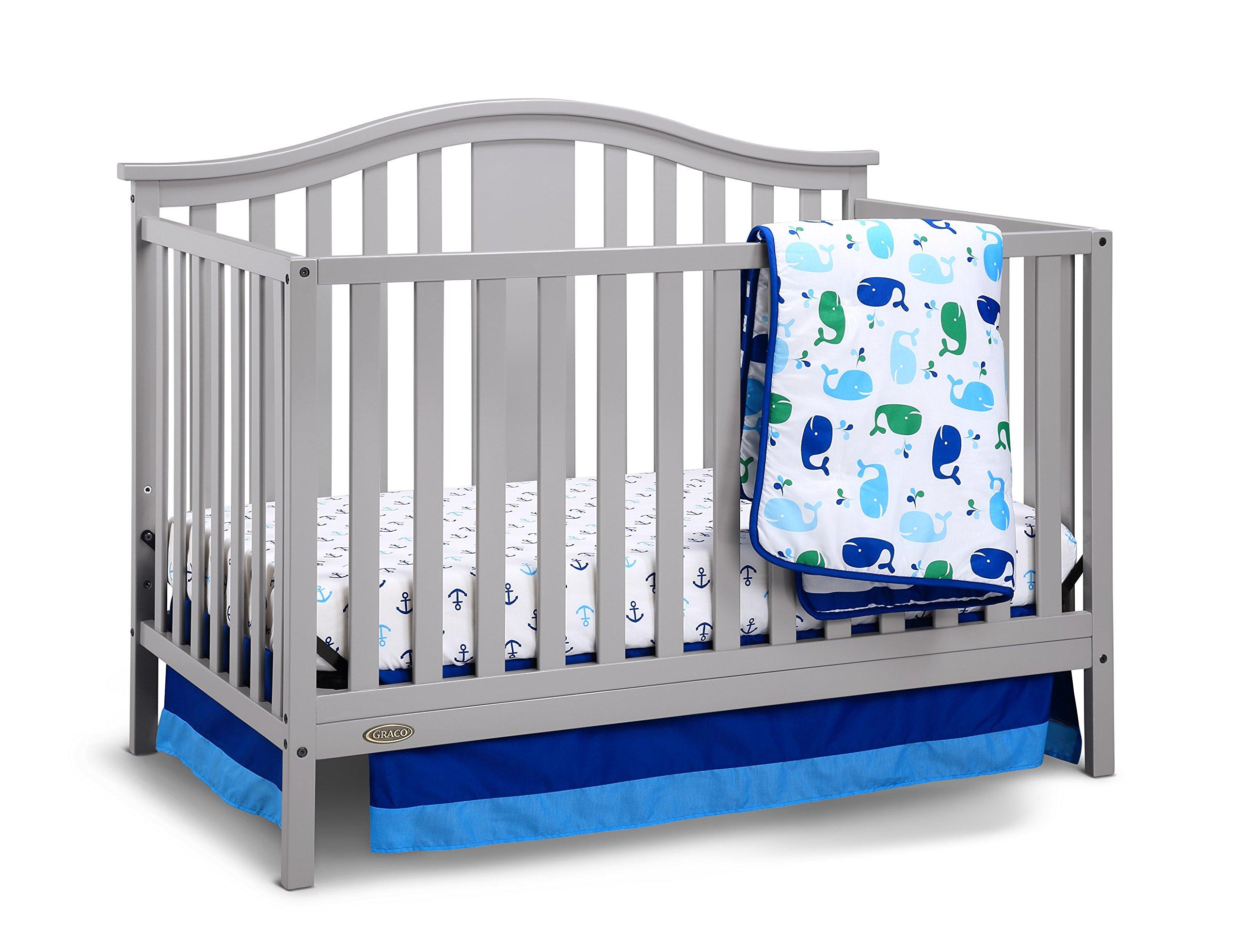 Graco Solano 4-in-1 Convertible Crib and Bonus Mattress, Pebble Gray