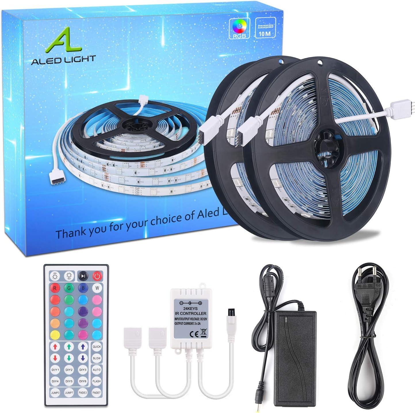 Tira de Luces LED 10m(2x 5m), ALED LIGHT 5050 SMD 300 LED RGB Tira LED con Mando a Distancia de 44 Teclas, Fuente de Alimentación de 12V Luce de LED para Hogar, Habitación, Fiesta, Boda, Decoración