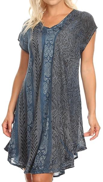 Sakkas 18701 - Salina Womens Crinckle Cap Sleeve V Cuello Top Túnica Blusa Lentejuelas y Estampado