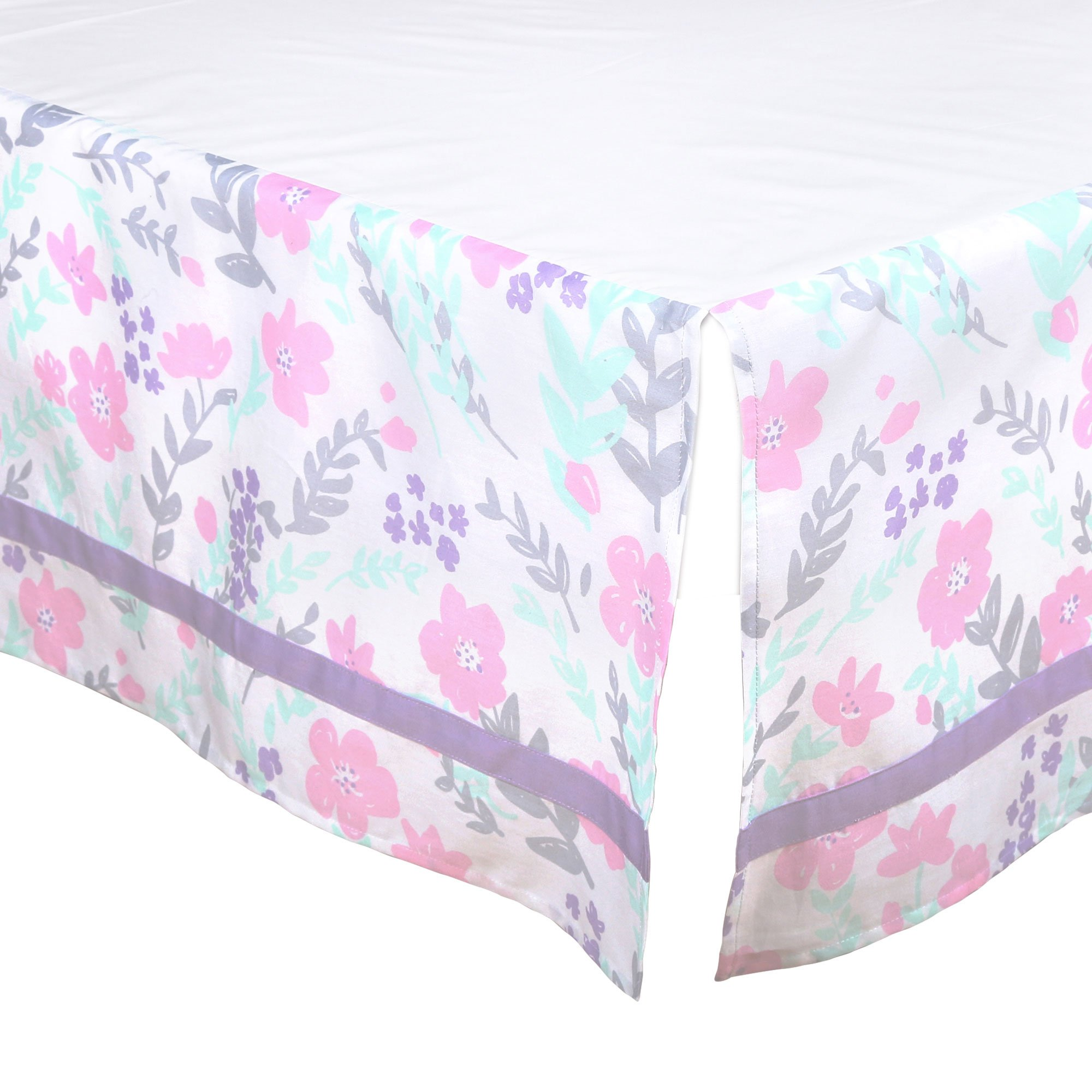 Purple, Pink and Mint Floral Tailored Crib Dust Ruffle by The Peanut Shell