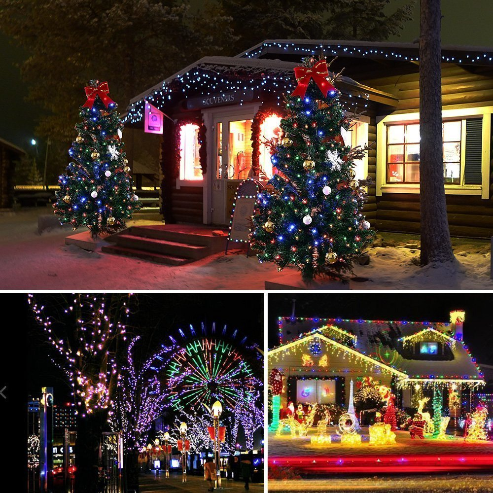 Christmas String Lights 22M/72ft 200 LEDs Indoor String Lights with 8 Flash Changing Modes, 29V Safety Outdoor Waterproof Plug-in Fairy Twinkle Lights for Halloween/Garden/Party/Festive (Multi Color) by Vilaka (Image #6)