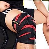 KYLIN SPORT 2 Pièces Paire de Protège de Genou 200cm Ceinture Bandage Protecteur Elastique et Réglable Genouillère Pour Entraînement Musculation Crossfit Powerlifting …