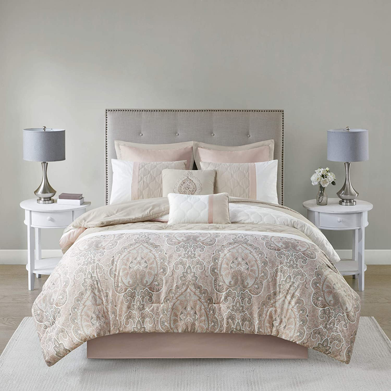 510 Design Shawnee 8 Comforter Piecing Quatrefoil Quilted Design, Damask Print, Embroidered Toss Pillow Modern Classic All Season Bedding Set, Matching Sham, Bedskirt, Queen(90