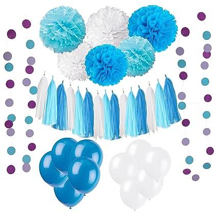 Wartoon 43 Pcs Papel Pom Poms Flores Tissue Globo Tassel Garland Polka Dot Kit de Guirnalda de Papel para Las Decoraciones del Banquete de Boda de ...