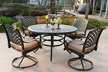 Sensational Amazon Com Ipatio 5 Piece Aged Bronze Aluminum Round Dining Squirreltailoven Fun Painted Chair Ideas Images Squirreltailovenorg
