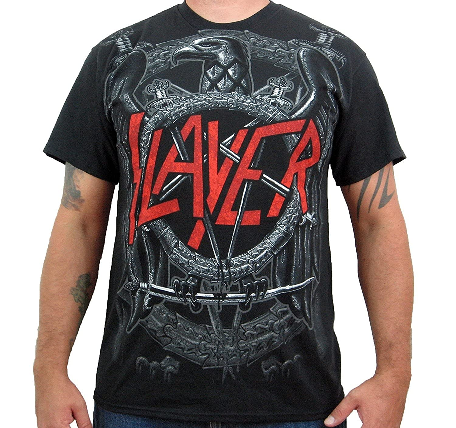 78b6bccf8825 Amazon.com: Slayer Jumbo Black Eagle Pentagram Black T-Shirt (Small):  Clothing