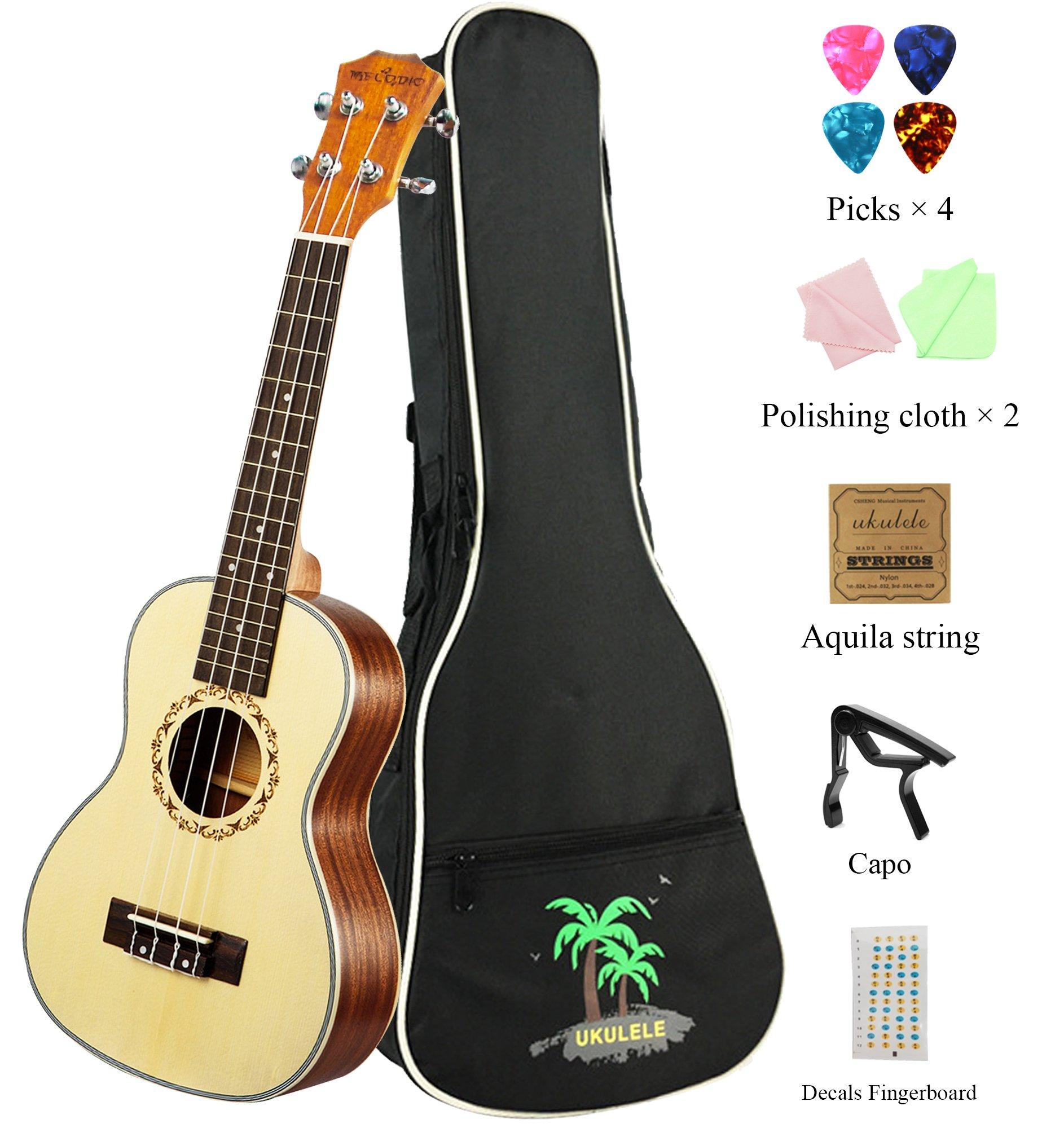 MELODIC Spruce Soprano Mahogany Ukulele 21 inch Ukulele Set With Gig Bag , Capo, Polishing Cloths, Decals Fingerboard, Strings (Spruce)