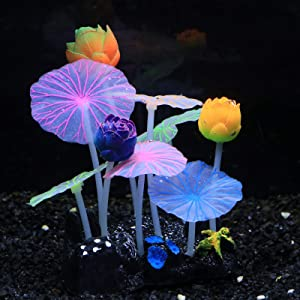 Uniclife Glowing Effect Lotus Ornament Silicone Decor Aquarium Decoration for Fish Tank with Suction Cup