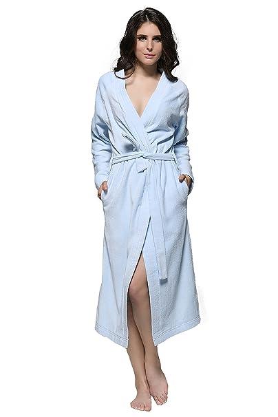 90115a2e3d 7 VEILS Women and Men Cotton Terry Spa Bathrobes-Light Blue-S-Ankle