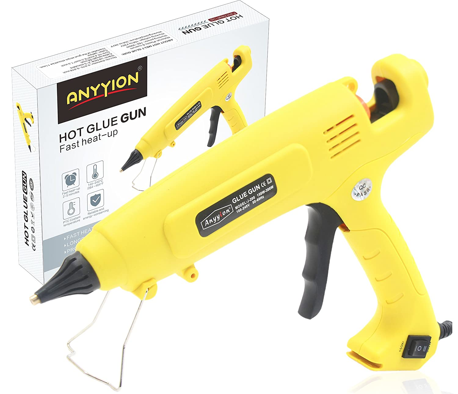 AI 300 Watt Hot Glue Gun ,High Output Professional Adjustable Switch High Temperature Industrial Adhesive Hot Melt Glue Guns ; Yellow Anyyion 4336847608