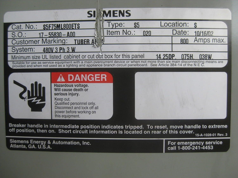 Siemens 3R 800 Amp MLO Breaker Panel 480V S5F75ML800ETS 3P 3W 800A ...