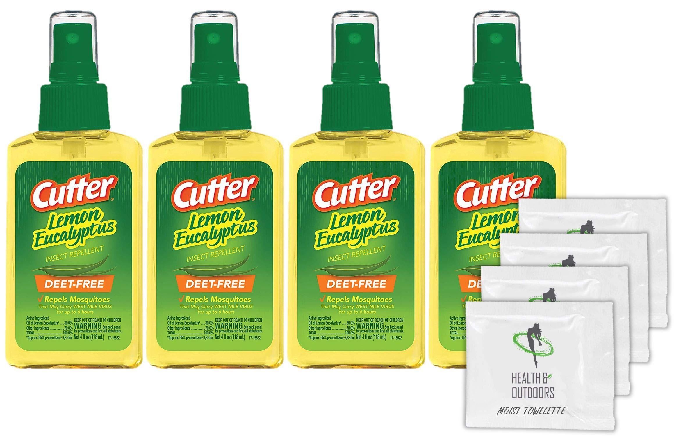 Cutter Lemon Bug Repellent Pump Spray (4 OZ) 4 Count + (4) Bonus Wipes by CutterBug Repellent
