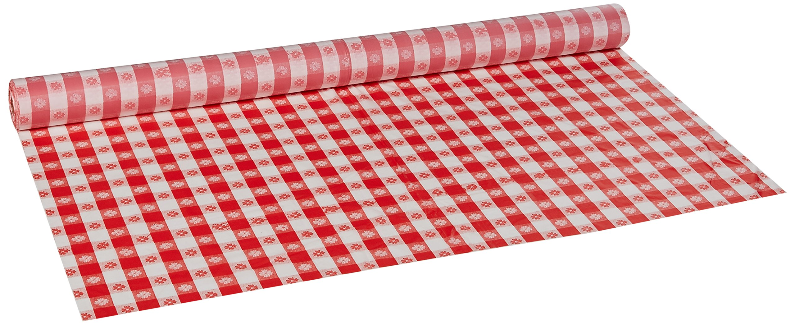 Hoffmaster 114001 Plastic Tablecover Roll, 300' Length x 40'' Width, Red Gingham