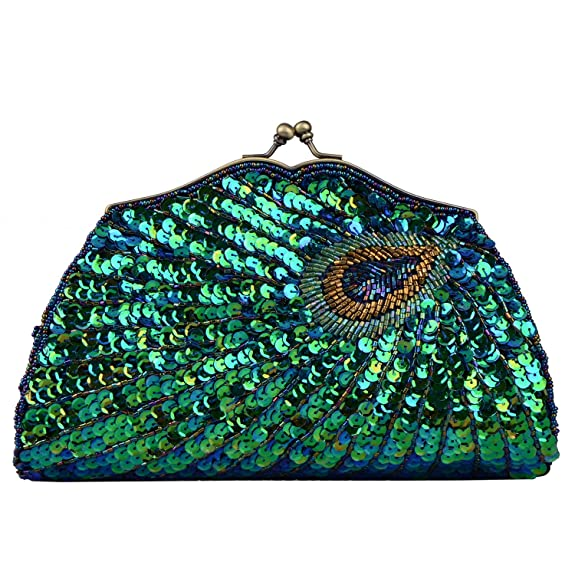 1920s Style Purses, Flapper Bags, Handbags Lifewish Vintage Beaded Clutch Bag Peacock Evening Purse for Women $25.99 AT vintagedancer.com