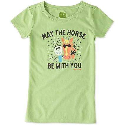 fbe4dd4b98b Amazon.com  Life is Good Girls May The Horse Crusher Tee  Sports ...