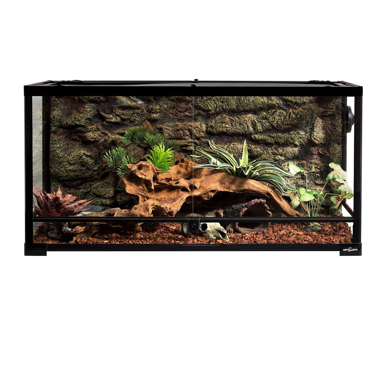 REPTIZOO Reptile Glass Terrarium,Double Hinge Door with Screen Ventilation Reptile Terrarium 36'' x 18'' x 18''(Knock-Down)
