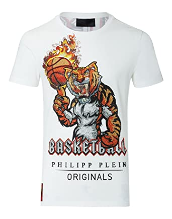 3ea723c6c Philipp Plein T-Shirt Round Neck SS Beau White: Amazon.co.uk: Clothing