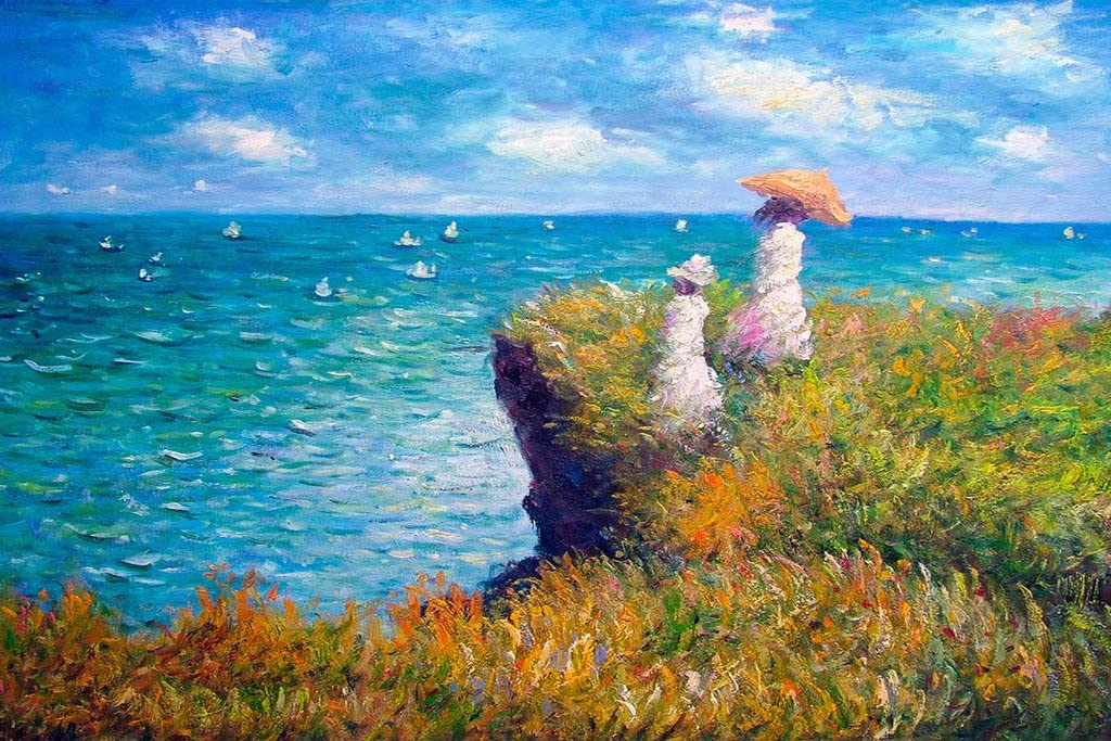 Claude Monet The Promenade On The Cliff Cool Wall Decor Art Print Poster 18x12