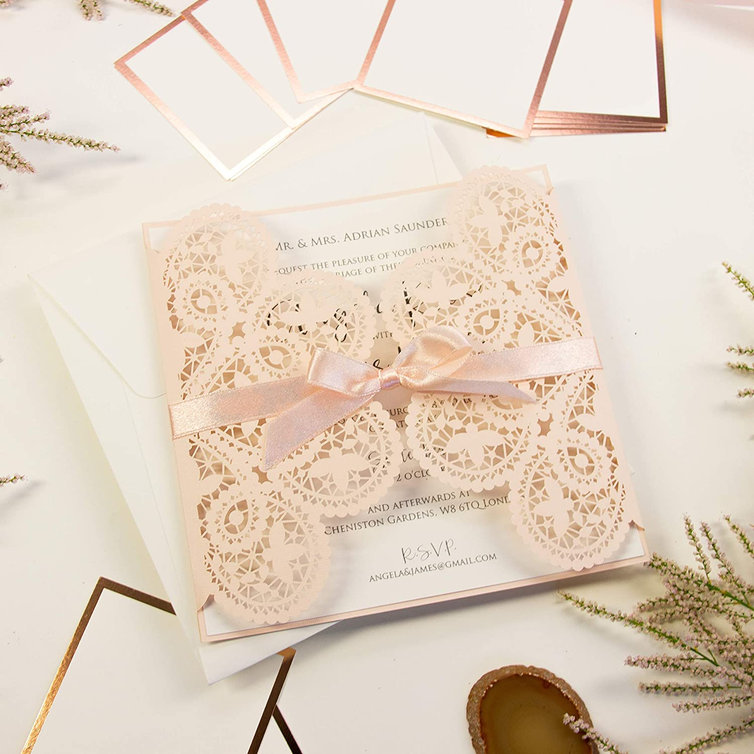 Elegant Invitation Cards Laser Cut Peach Lace Square With