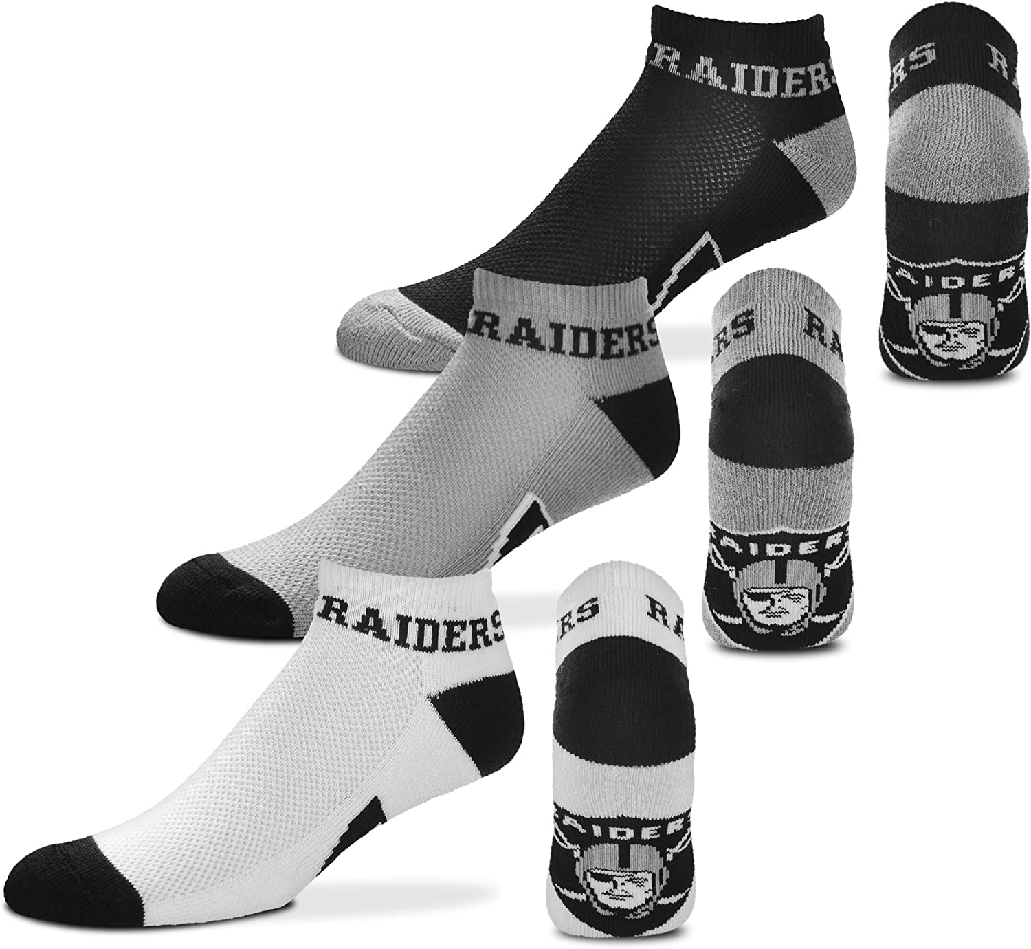 For Bare Feet Oakland Raiders 4 Stripe Youth Size NFL Crew Kids Socks 4-8 YRS