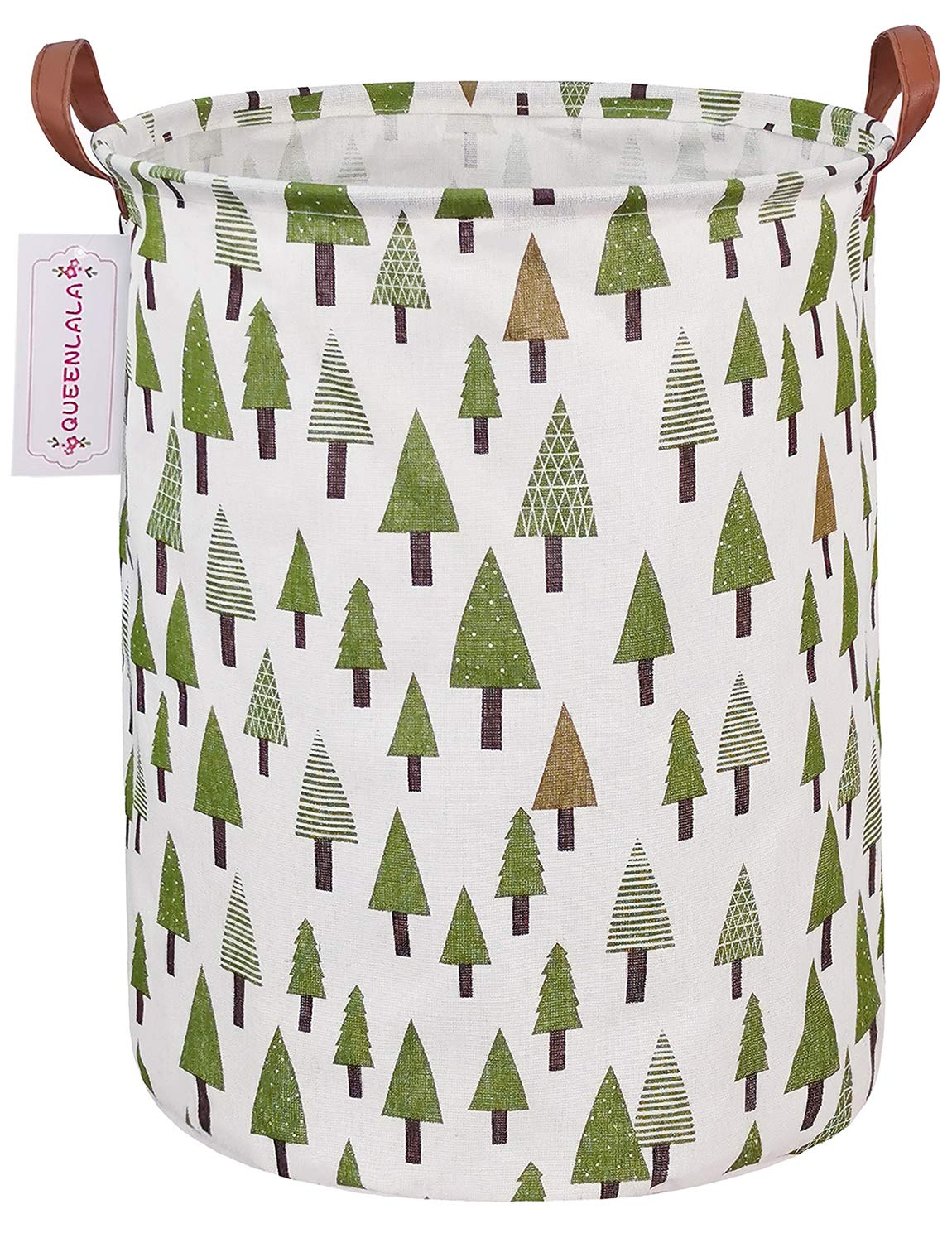 QUEENLALA Large Storage Basket,Laundry Hamper/Bathroom/Home Decor/Collapsible Round Storage Bin,Boys and Girls Hamper/Boxes/Clothing (Green Forest)