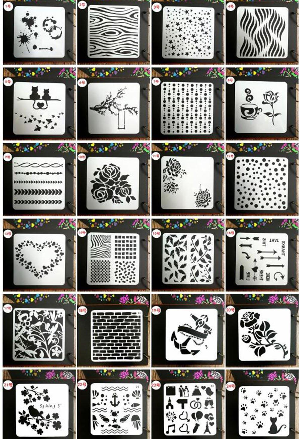 Juuly, 24 stencil diversi per diario, agenda, modelli per disegni, creazioni artigianali, biglietti fai-fa-te