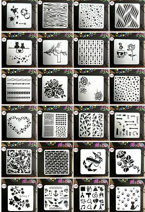 Juuly, plantilla de 24 estilos, plantillas para manualidades, plantillas para pintar, plantillas