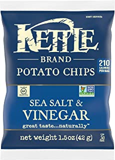 product image for Kettle Brand Potato Chips, Sea Salt and Vinegar, Single-Serve 1.5 Ounce (Pack of 24)