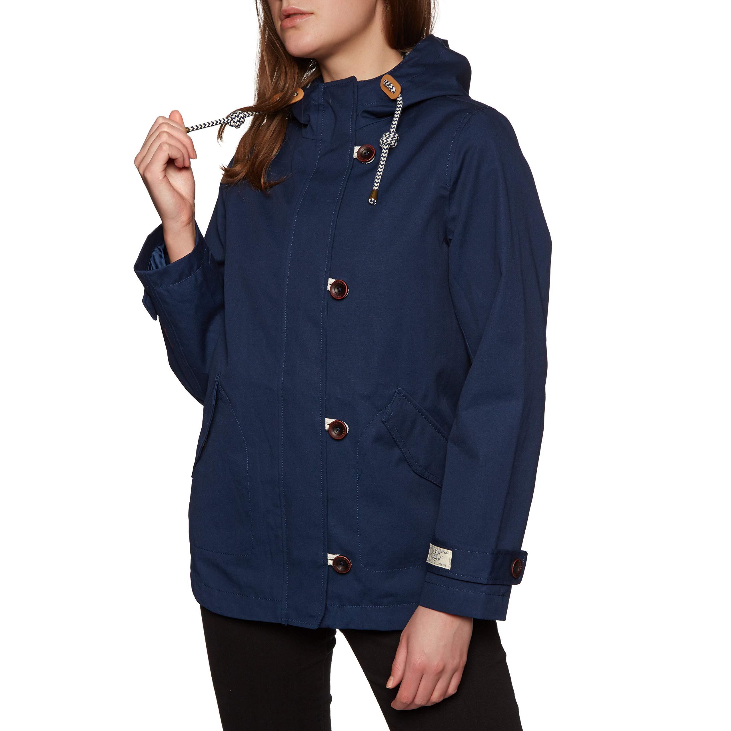 Joules Women's Coast Waterproof Hooded Rain Jacket (French Navy, US 8)