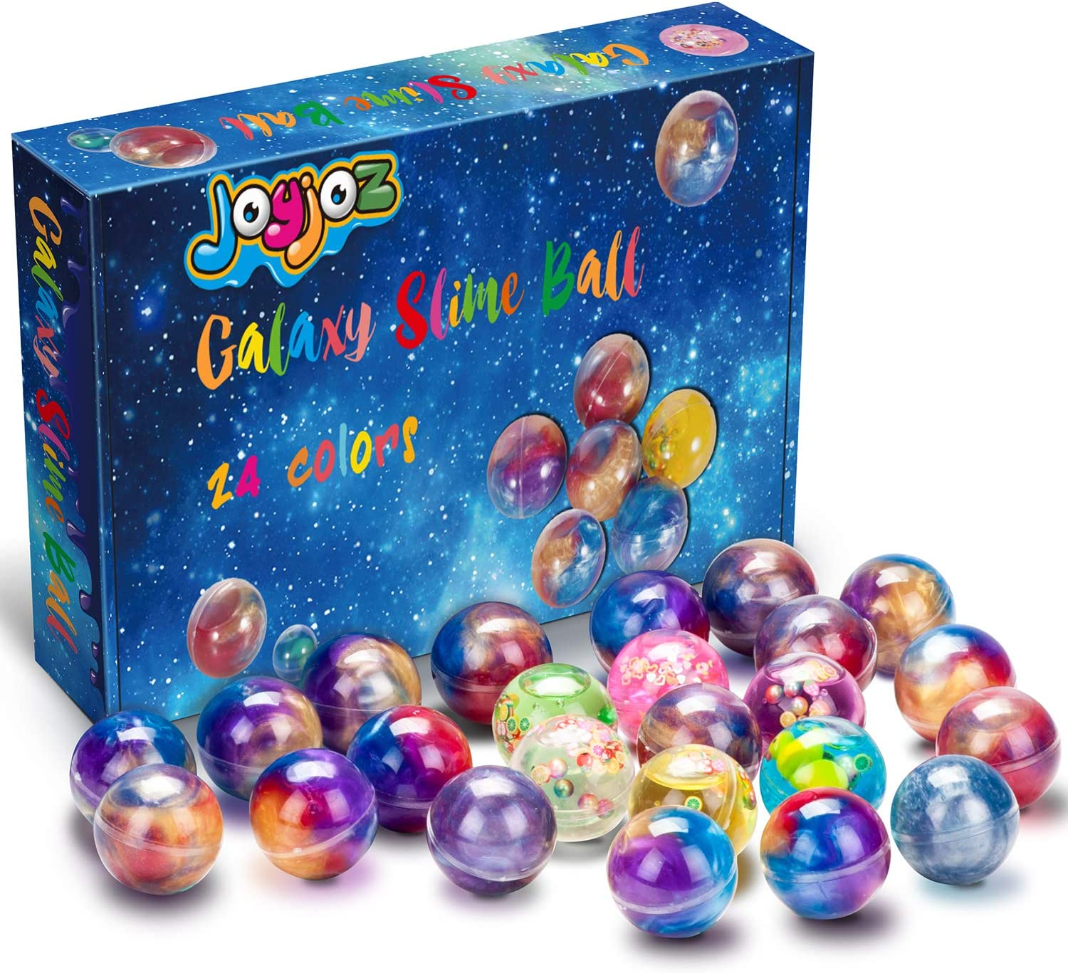Joyjoz Kids Party Favors Slime, 24 Pack Galaxy Slime Ball Kits with Crystal Slime, Party Favors for Kids, Unicorn Party Slime, Fluffy & Stretchy, Non-Sticky, Stress Relief, Super Soft for Girls & Boys: Toys & Games