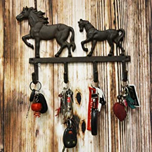 """Ebros Cast Iron Rustic Western Country Farm Horse With Foal Coat Key Hat Leash Backpack Wall Hanging Hooks 13"""" Wide 4 Peg Hook Decor Hangers Cowboy Decorative Organizer For Mudroom Main Entrance Walls"""