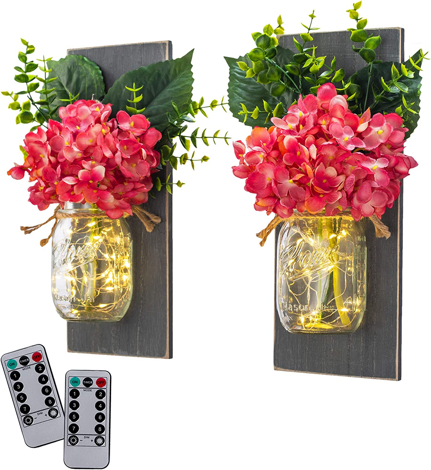RS SUNLIGHT Mason Jar Wall Sconce with String LED Lights (Set of 2) - Farmhouse Chic Wall Decor- Shabby Chic Style - Two Remote Controls-Pink Hydrangea Flower