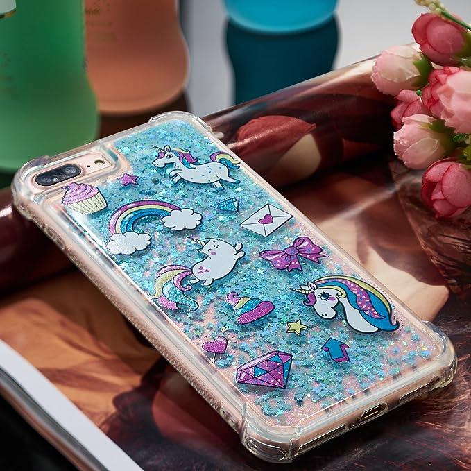 QFUN Cover iPhone 7 Plus/8 Plus Silicone Morbido Trasparente con