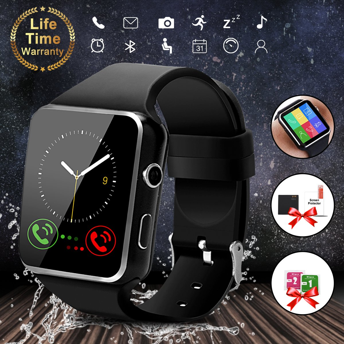 Smart Watch with Bluetooth, 1.54'' Touchscreen Smart Wrist Watch with Sim Card Slot, Camera Controller Bluetooth Watch Unlocked Smartwatch Phone Compatible with iPhone X 6 7 8 Plus Android Samsung (X6)