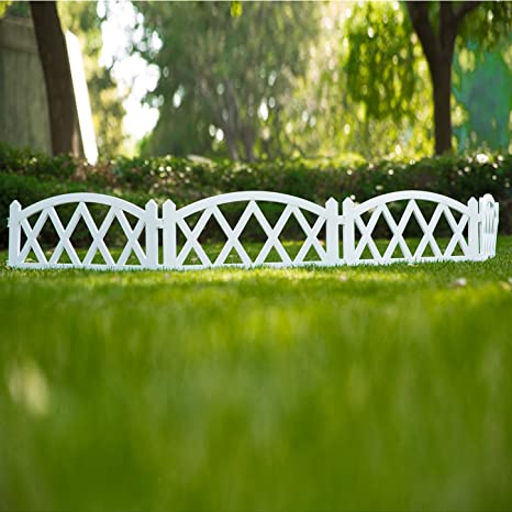 Attirant Sungmor 94.5 Inches Length Garden Plastic Rail Fence White Pickets,Indoor  Outdoor Lawn Patio Protective