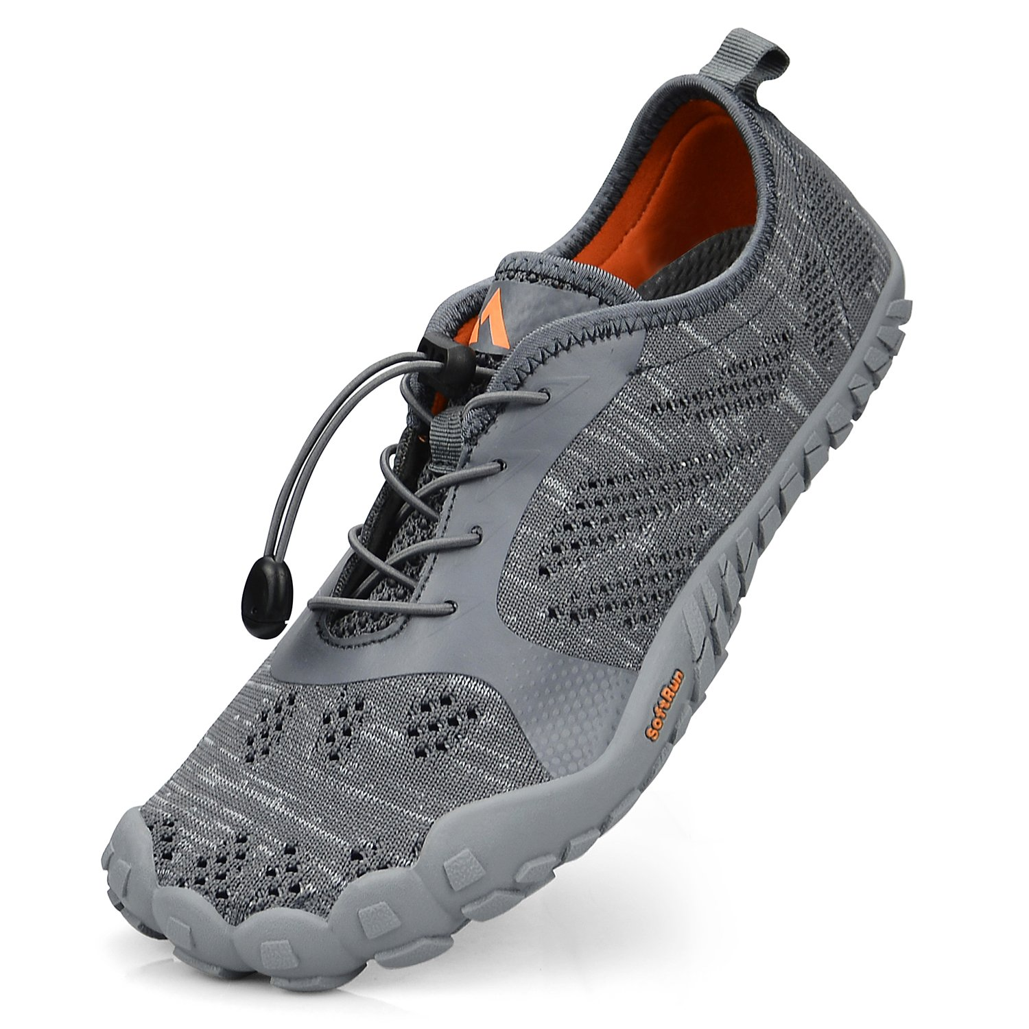 QANSI Womens Hiking Shoes Mesh Barefoot Water Shoes Gym Athletics Walking Outdoor Sneakers Grey Size 10.5
