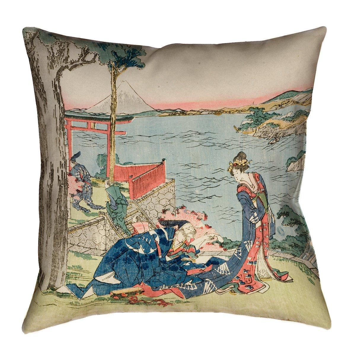 ArtVerse Katsushika Hokusai 14 x 14 Spun Polyester Double Sided Print with Concealed Zipper /& Insert Japanese Courtesan Pillow 14 x 14 14 x 14