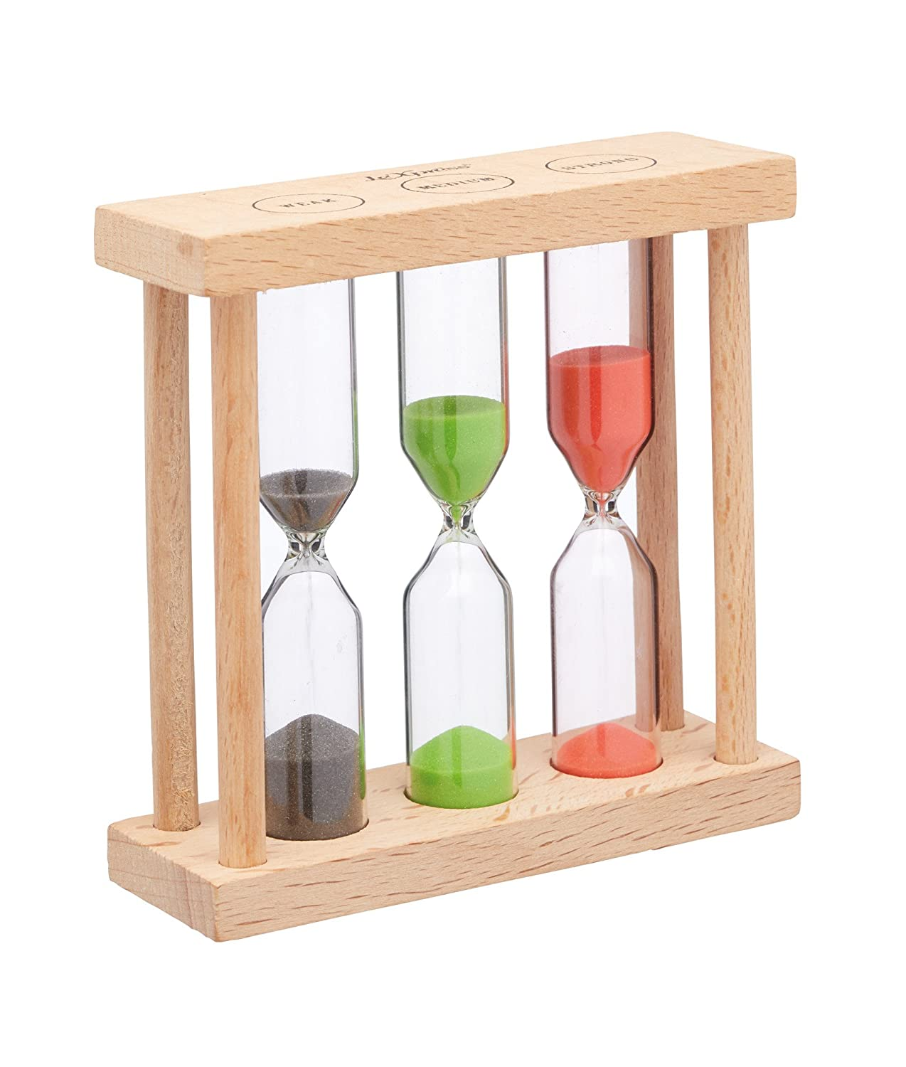 KitchenCraft Le'Xpress 3-in-1 Wooden Hourglass-Style Tea Timer, 9 x 3 x 9 cm (3.5