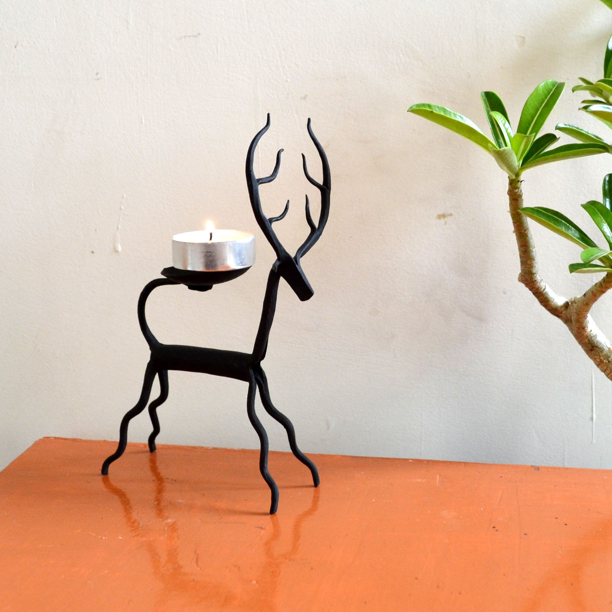 Chinhhari Arts, Indian Decorative Table Decor Deer Candle Stand Wrought Iron Handmade Accents